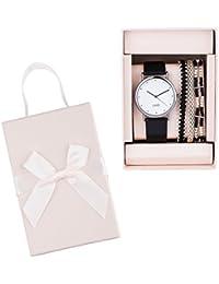 """SIX """"Geschenk"""" Damen Geschenk-Set mit schwarzer Armbanduhr, silbernes Gehäuse, weißes Ziffernblatt & drei Armbändern, silber, schwarz (388-311)"""