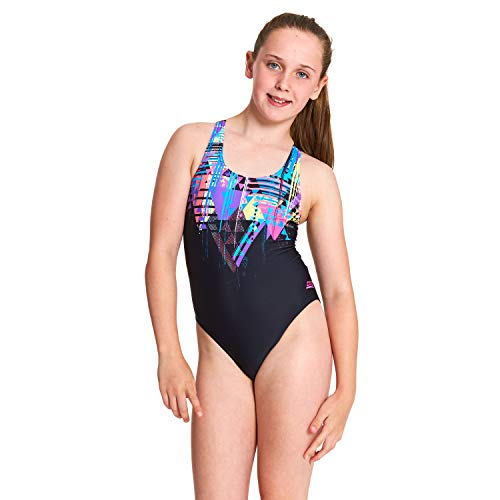Zoggs Mädchen Labrynth Rowleeback Badeanzug, Schwarz/Mehrfarbig, 140cm