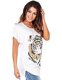 KRISP® Damen T-Shirt Oversize mit Tiger Aufdruck und goldener Applikation