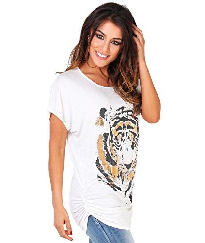 2093-CRM-20: Tiger Oversize T-Shirt (Cremeweiß, Gr.48)