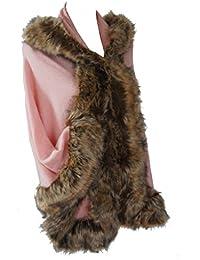 Manteau cape avec fausse fourrure beige ou rose