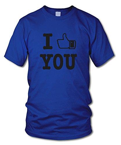 shirtloge - I LIKE YOU - FUN T-Shirt - KULT - in verschiedenen Farben - Größe S - XXL Royal (Schwarz)