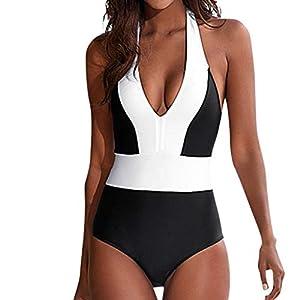 Damen Einteiliger Badeanzug Sexy Rückenfrei Patchwork Monokini Badebekleidung Retro Hohe Taille Bademode gepolsterter Bikini Set