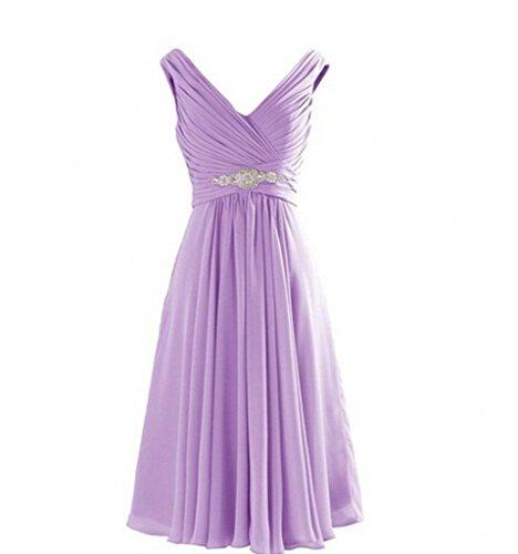 Charmant Damen 2017 Neu Flieder V-ausschnitt Chiffon Kurz A-linie Rock Abendkleider Partykleider Brautjungfernkleider Lilac
