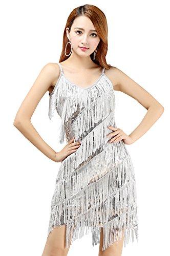 BellyQueen Damen Tanzkleid Pailletten Dancewear EIN Stück Lateinkleid Quaste Rumbakleid Cha Cha Tanzkleidung Party Wear- Silber