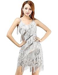 152ef043f129 BELLYQUEEN Abito senza Maniche Gatsby Donna 1920S Abito con Frange Abiti  con Paillettes Charleston Per Costume