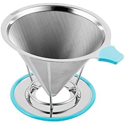 Filtro de café cono acero inoxidable goteador del café perfecto para verter sobre la cafetera, ecológica y ambientalmente seguro 100% filtros reutilizables - sirve 1-2 tazas