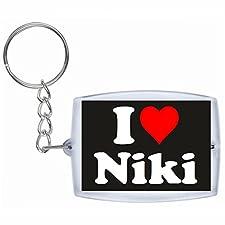 """EXCLUSIVO: Llavero """"I Love Niki"""" en Negro, una gran idea para un regalo para su pareja, familiares y muchos más! - socios remolques, encantos encantos mochila, bolso, encantos del amor, te, amigos, amantes del amor, accesorio, Amo, Made in Germany."""