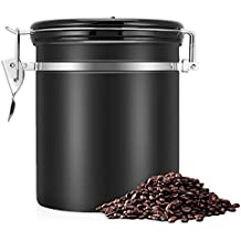 Kaffeedose Luftdicht,Kaffeedose,Kaffeebehälter,Kaffeedose Edelstahl Aromadose Vorratsdose Vakuum Dose für Kaffeebohnen, Pulver, Tee, Nüsse, Kakao(Schwarz, 1.5 Liter)