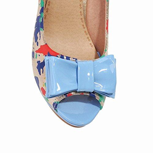 Mee Shoes Damen modern populär bunt Peep toe Trichterabsatz mit Schleife Blockabsatz Plateau Pumps Blau