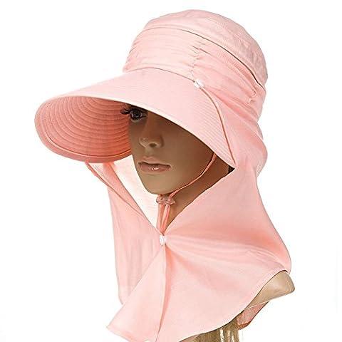 Siggi Femme Capeline Pliable Chapeau de Soleil Réglable Masque Large Bord Echarpe Eté Jardin UPF Orange