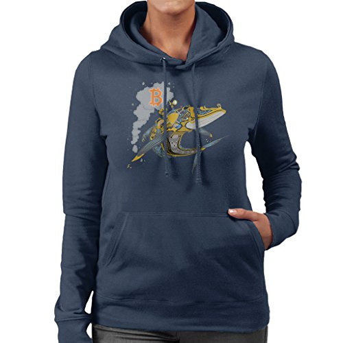 Bitcoin Steampunk Crypto Whale Womens Hooded Sweatshirt Navy blue