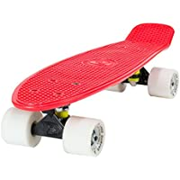 Land SURFER® Skateboard Cruiser Retro Completo 56cm con Tabla de 3 Tonos de Colores Diferentes - cojinetes ABEC-7 - Ruedas 59mm PU + Bolsa para el Transporte - Tabla Roja/Ejes Negros/Ruedas Blancas