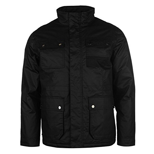 pierre-cardin-hombre-waxed-chaqueta-mangas-largas-exterior-ropa-vestir-casual-black-xx-large