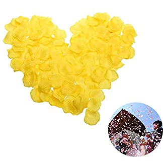 Cupcinu 500 Pétalos de Rosa de Seda con Pétalos de Flores Artificiales para Boda, Novia, Fiesta, Decoración (Rosa), Seda sintética, Amarillo, 500pcs