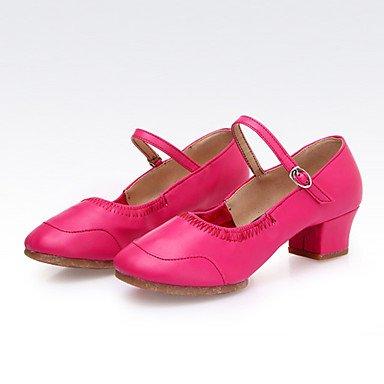 Silence @ Chaussures de danse pour femme en cuir Cuir latine/moderne des chaussures Chunky Talon Practise Red