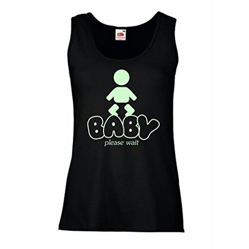 Serbatoio,Maglietta senza maniche femminile Baby Loading - camicie di maternità divertenti con detti Nero Fluorescente