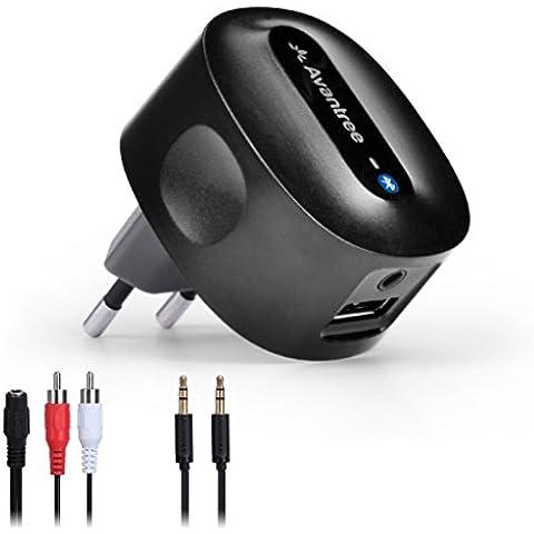 Avantree Adaptador Bluetooth Audio Receptor Universal para Altavoces Stereo Roxa Plus CARGA LIBRE aptX BAJA LATENCIA de música con calidad