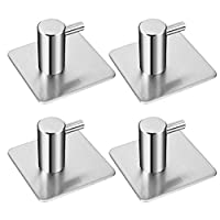 4 Pack Rustproof Stainless Steel Stick on Hooks Self Adhesive from LYSLEDa, Waterproof Strong Bonding Power Sticky Hooks for Kitchens, Bathrooms, Lavatories, Closets, Office and so on.