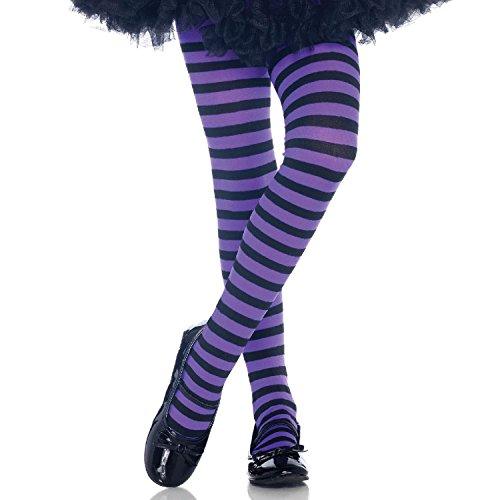 estreifte Strumpfhose, Größe: L, schwarz/Purple ()