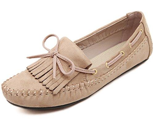 Fortuning's JDS Suede Mocassins en cuir doux Bean Chaussures pour femmes enceintes bowknot Blanc Cassé