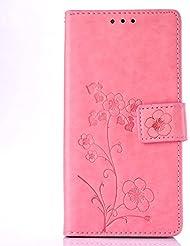 Coque pour Sony Xperia Z5 ,Housse en cuir pour Sony Xperia Z5 ,Ecoway de gaufrage étui en cuir PU Cuir Flip Magnétique Portefeuille Etui Housse de Protection Coque Étui Case Cover avec Stand Support Avec des Cartes de Crédit Slot et Fonction Support pour Sony Xperia Z5 – rose