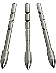 Mangobuy 12 pcs 80/100/120 Grain Pointe de point de balle d'acier grain pour ID 4.2mm Arbre de flèche Arbalète