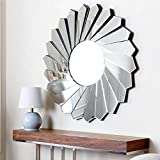 """Venetian Design Kayden Modern Round Wall Mirror Diameter 30"""""""