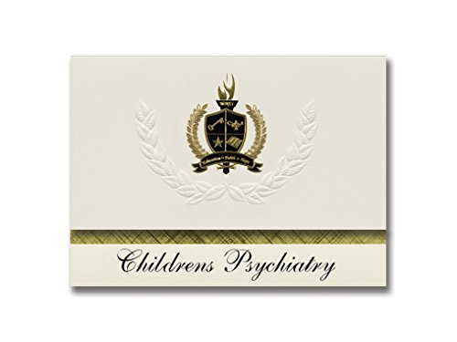 Signature Announcements Kinder Psychiatrie (Albuquerque, NM) Schulabschlussankündigungen, Präsidential-Stil, Grundpaket mit 25 goldfarbenen und schwarzen metallischen Folienversiegelungen