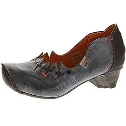 TMA Damen Ballerinas Echt Leder Pumps Comfort Leder Schuhe Schwarz-Grau Slipper TMA 8787 Gr. 40
