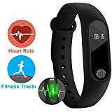 Smart Fitness Bracelet / Band Fitband With Heart Rate Monitor OLED Display Bluetooth 4.0 Waterproof Sports Health Activity Tracker By Meya Happy™ Wristband / Pedometer / Sleep Monitor / Call Reminder / Clock / Compatible With All Xiaomi Mi Redme Not