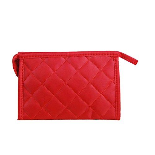 Tangda Handytasche Notizbuchtasche Aufbewahrungstasche Kosmetik Tasche Beutel Tote Bag Tragetasche große Size - Rot