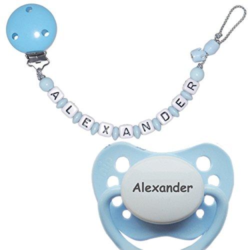 Schnullireich Personalisierte Schnullerkette mit Namen, max. 10 Zeichen (Hellblau / Junge) + 1 NIP Schnuller mit Namen (6-18 Monate) (Für Junge Zeichen)