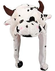 Iris - 1Pc Blanche Vache Blanche Vache Bonnet Chapeau Ski Peluche Animaux Adulte Enfant 18*30Cm Automne Hiver- Déguisement