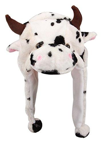 EOZY 18*30CM Chapeau Bonnet d'Hiver en Peluche Animal pour Femme Homme à la Maison #9 Vache / Noir et Blanc
