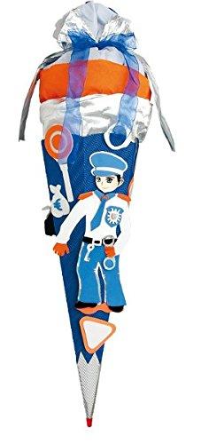 ROTH fertig gebastelte Schultüte - Polizei 85 cm - 6 - eckig - mit Holzspitze Zuckertüte Polizist Junge