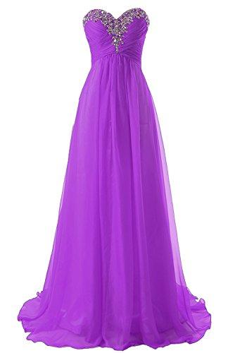 Ballkleid Chiffon Abendkleider Lang Damen Brautjungfernkleider Festkleider A Linie Violett EUR54