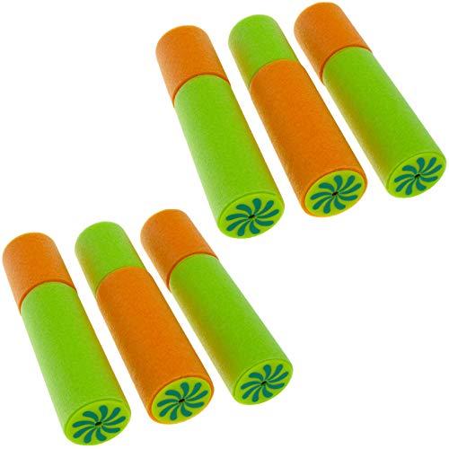 Smartfox 2X 3 Stück Mini Schaumstoff Wasserpistole Wasserspritze Wasserspritzpistole Spritzpistole Pool Schwimmbad See Meer in grün/orange - 3 X 3 Mini