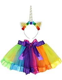 Rocita Girls' Rainbow Tutu Skirt colorful Pleated Gauzy Princess Dress With Unicorn Cat Ear Hair Clasp