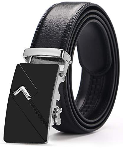Kuayds Cinturón Hombre Cinturón Automático de Trinquete Para Hombre Cinturón de Botón Ajustable 3.5 * 120 cm