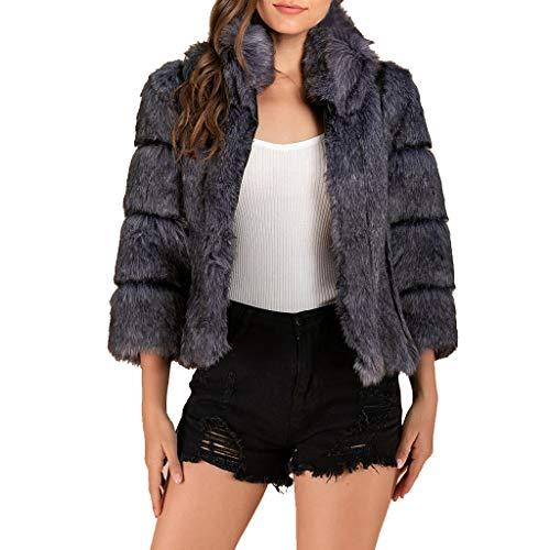 UFODB Damen Pelzmantel Warm Elegant Fellmantel Plüschmantel Wintermantel Winterjacke Kunstfell Outwear Kurz Mantel Winter Faux Fur Jacke Coat Felljacke Pelz Mäntel