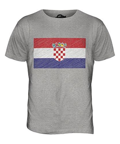 CandyMix Kroatien Kritzelte Flagge Herren T Shirt Grau Meliert