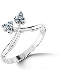 Chandrika Pearls Gems & Jewellers Pure Silver Real Diamond Valentine ring with Platinum Polish
