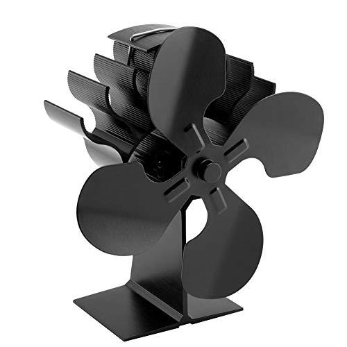 Deylaying Kaminventilator - Erhöhen Heiße Luft Ruhig Ofenventilator für Pellet/Holz Brenner (4 Klinge)