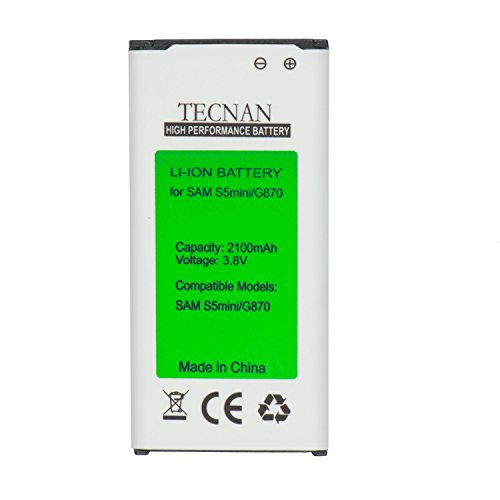 tecnan Ersatzakku (Ohne NFC) Ersatz für Samsung Galaxy S5 Mini SM-G800F ersetzt EG-BG8000BBE Handy Akku Li-Ion 2100 mAh Batterie Battery Handyakku Accu (Akku S5 Mini)