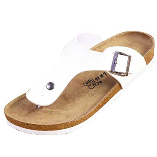 Unisex Adulto Sandali Eleganti - Ciabatte Donna - Pantofole Infradito Uomo Bianco