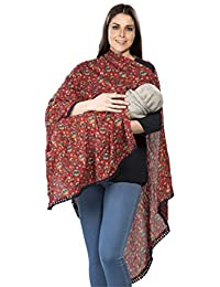 3 IN 1 RED PRINTED Multipurpose Scarf/stole /nursing cover/breastfeeding cover/feeding apron/maternity cover/feeding cloak/breathable /poncho/made from mal cotton for pre and post pregnancy