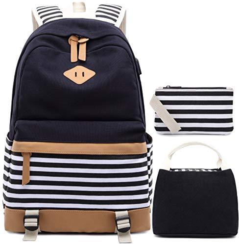 Tela Zaino Scuola Ragazza Donna Zainetto Vintage Canvas Backpack Casual Daypacks per 15.6in Laptop, USB Charging Port (Nero-3)