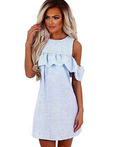 cooshional Damen Schulterfrei Kleid, Sommer Ruffle Mini Kleid,Striped Partykleider Blau und Rosa Blau