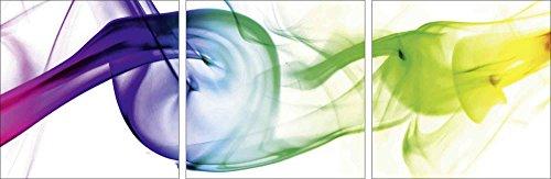 Artland Qualitätsbilder I Glasbilder Deko Glas Bilder 90 x 30 cm mehrteilig Abstrakte Motive Gegenstandslos Digitale Kunst Bunt D8RS Rauch - Abstrakt